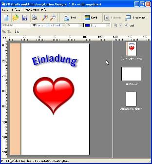 Screenshot vom Programm: CK Gruß- und Einladungskarten Designer